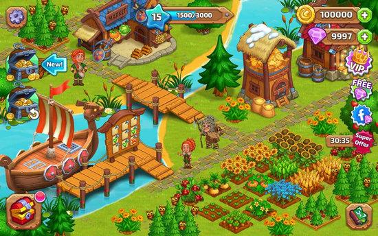 北龙岛建造维京农场无限金币版